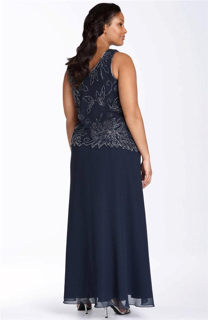 J Kara Plus Size Beaded Dress - Discount Evening Dresses