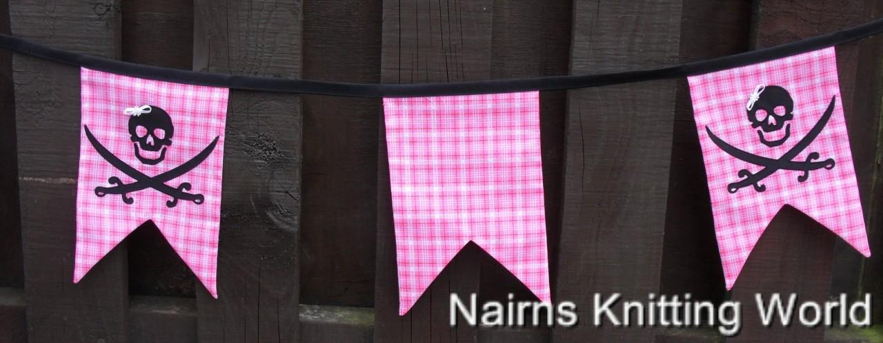 Handmade Pink White Pirate Skull Crossbones Banner Bunting Ready to Hang