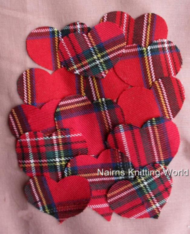 20-x-2-inch-Red-Multi-Tartan-Plaid-Wool-Fabric-Cut-Out-Applique-Scottish-Hearts