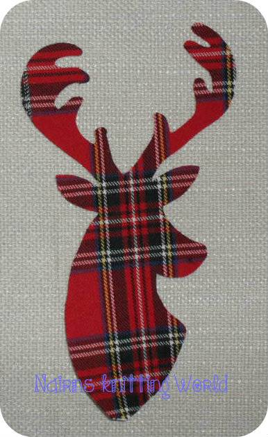 1-x-8in-Scottish-Stag-Head-Red-Tartan-Cotton-fabric-Cut-Out-Iron-On-Applique-1