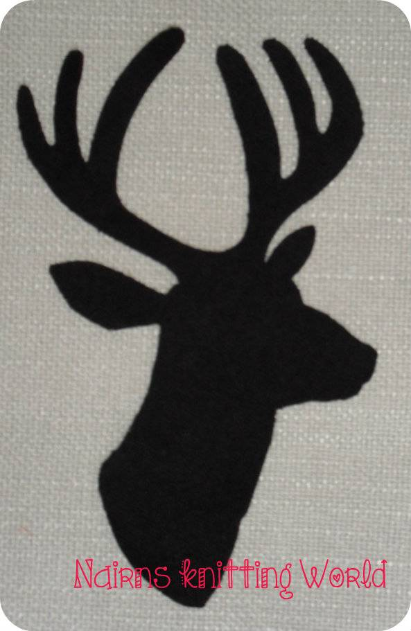 1-x-8in-Scottish-Stag-Head-Black-Tartan-Wool-Fabric-Cut-Out-Iron-On-Applique-2