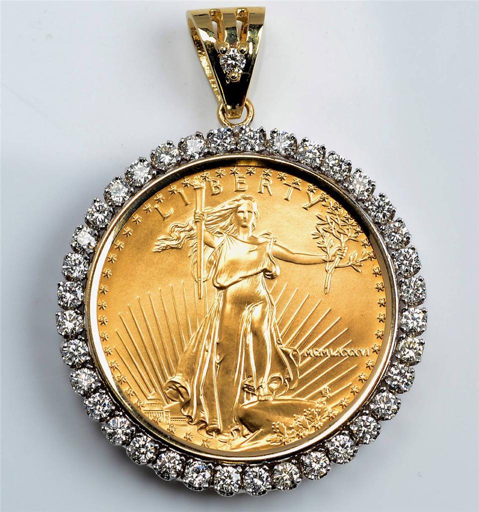 14kt gold pendant u s 1 oz eagle gold coin 2 55