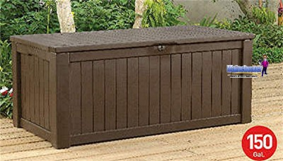 Keter 150 Gal Pool Patio Storage Bench Deck Outdoor Box