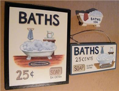 3 pc set baths retro primitive bathroom sign bath decor for 9x11 bathroom ideas