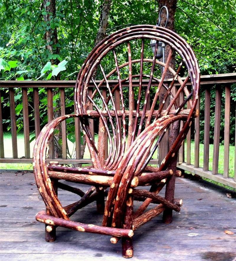 Rustic Twig Willow Chair Log Cabin Furniture Patio Indoor
