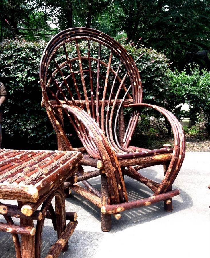 rustic twig willow chair log cabin furniture patio indoor