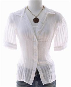 Charlotte russe sheer white cotton textured gauze button for Gauze button down shirt