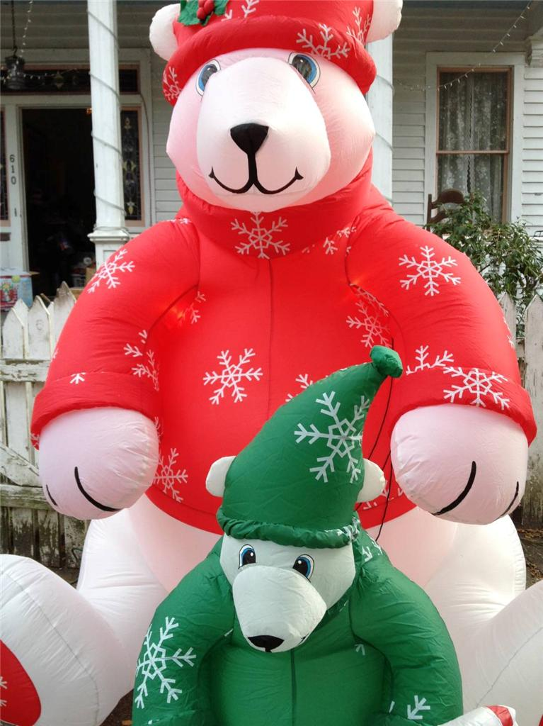 Gemmy-Christmas-Airblown-Inflatable-RED-amp-GREEN-Polar-Bears-8-039-Tall