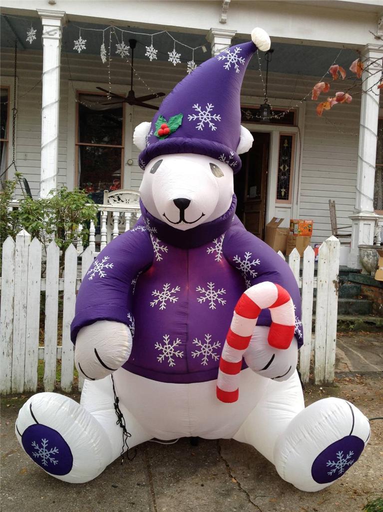 Gemmy christmas airblown inflatable purple polar bear