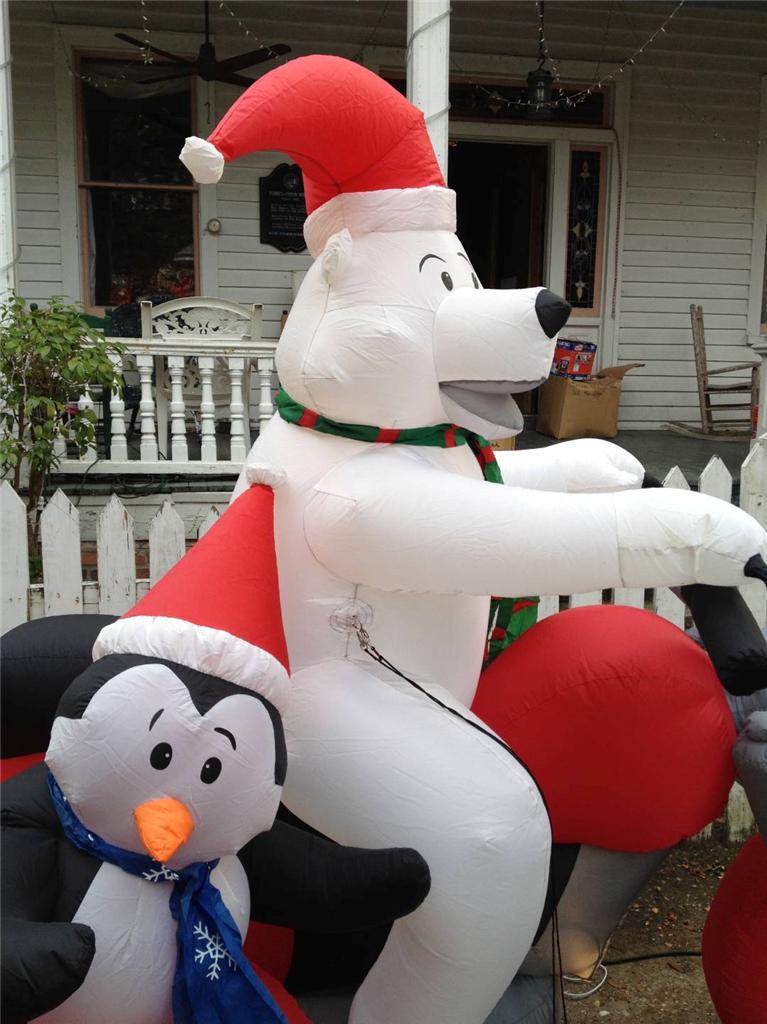Gemmy christmas airblown inflatable polar bear on a