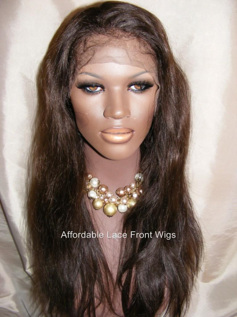 "18"" Straight FRONT Lace Wig M Cap, Med Brown Lace #2"