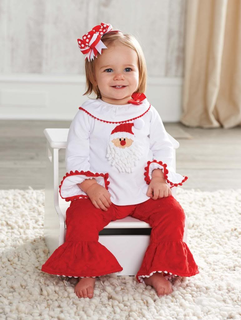Mud Pie Baby Girls Christmas Santa Minky Pants Set 2 Pc