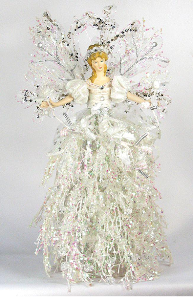 Holiday Angel Christmas Tree Topper Top 16 Ice White Silver Branch Flower New