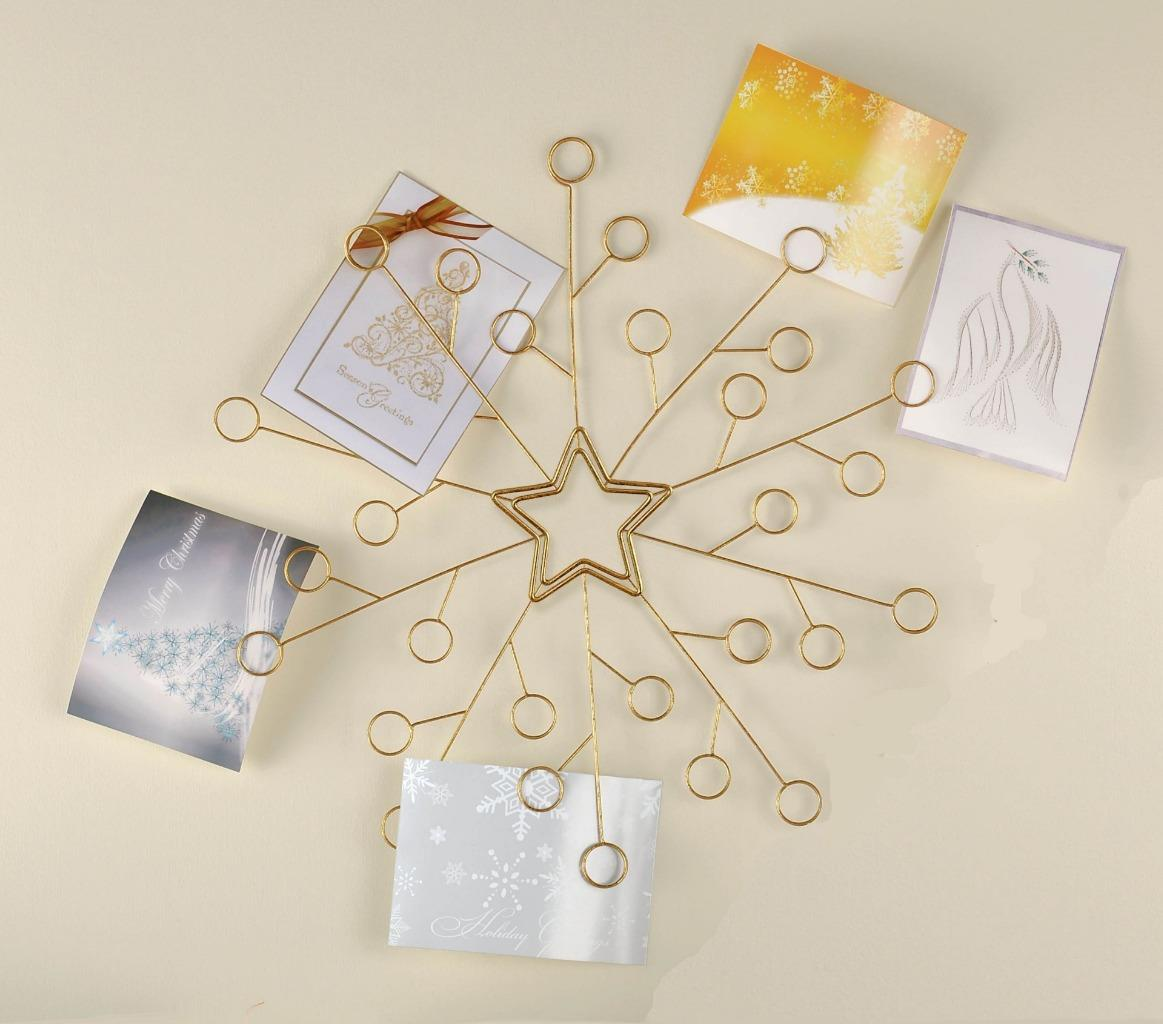 Amscan snowflake gold wire christmas card wall mounted for How to make christmas card holders wall