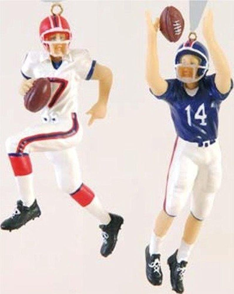 Football player ornament - Football Player Christmas Tree Ornament Red Blue Team Colors Set Of 2 Styles New
