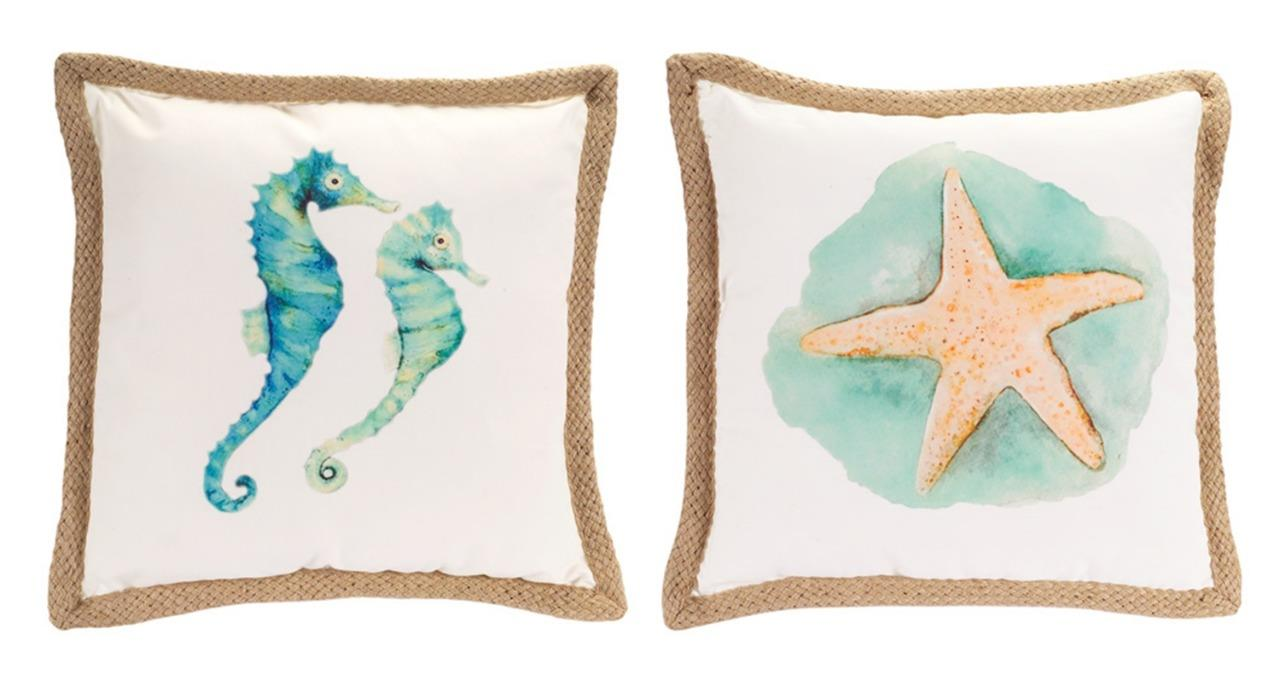 Melrose Sea Life Decorative Throw Pillows with Burlap Trim Seahorse Starfish Set eBay