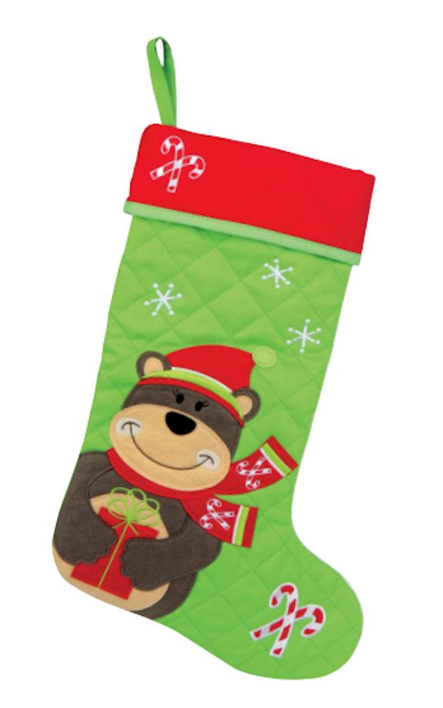 stephen joseph holiday quilted christmas stocking 18 034 - Girls Christmas Stocking