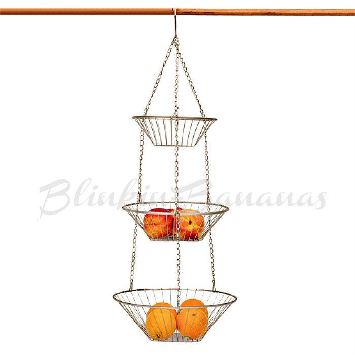 3 Three Tier Metal Kitchen Wire Chrome Vegetable Rack Fruit Hanging Basket Bowl Ebay