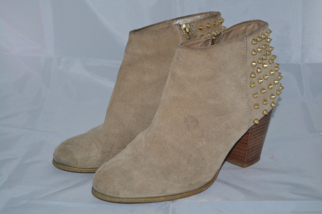 TAN-BROWN-SUEDE-ZARA-HEELED-SPIKE-STUDDED-CHELSEA-ANKLE-BOOTS-UK-7-EUR-40