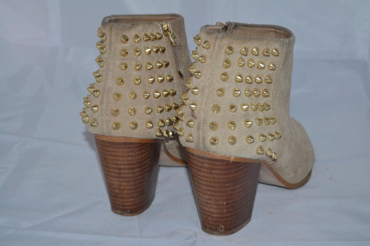 brown suede zara heeled spike studded chelsea ankle