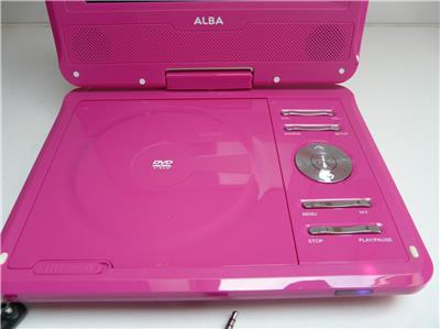 alba 7 inch pink portable dvd player with swivel screen. Black Bedroom Furniture Sets. Home Design Ideas