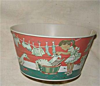 Vintage Laundry Tub : ... Size Vintage Laundry Tub~Tin~New~Great Detail~Girl w/Antique Washboard