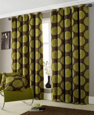 Zenith Floral Pattern Ring Top Curtains Green Orange 66 X 72 90 X 90 Brand New Ebay
