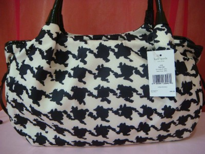 NWT KATE SPADE HOUNDSTOOTH NYLON BLACK BONE STEVIE SATCHEL TOTE BABY