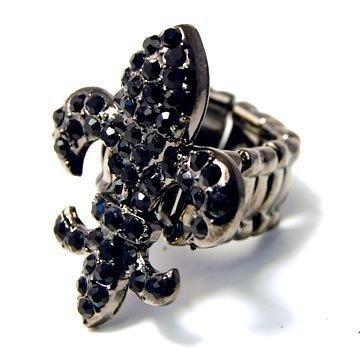 Crystal-Encrusted-Fleur-de-lis-Stretch-Ring