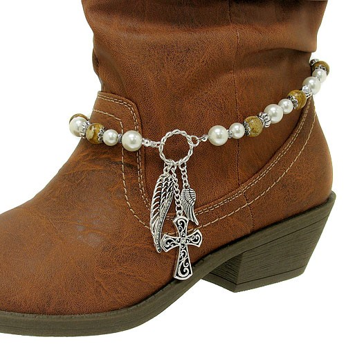 pearl cross wing charm western cowboy boot jewelry