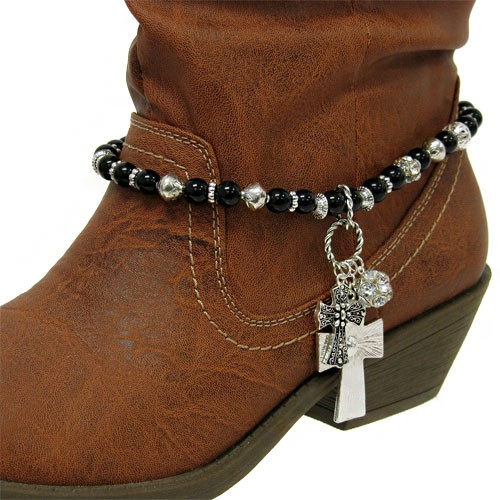 rhinestone cross charm western cowboy boot jewelry