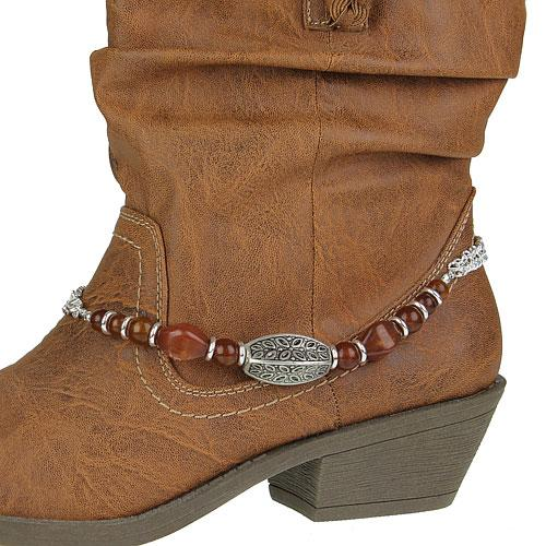 rectangle charm western cowboy boot jewelry anklet