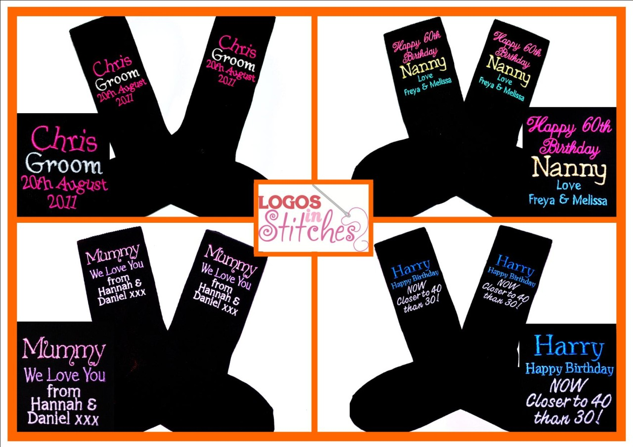 Personalised-Birthday-Wedding-Hen-Stag-Night-Gift-Present-Sock-ANY-TEXT-COLOUR