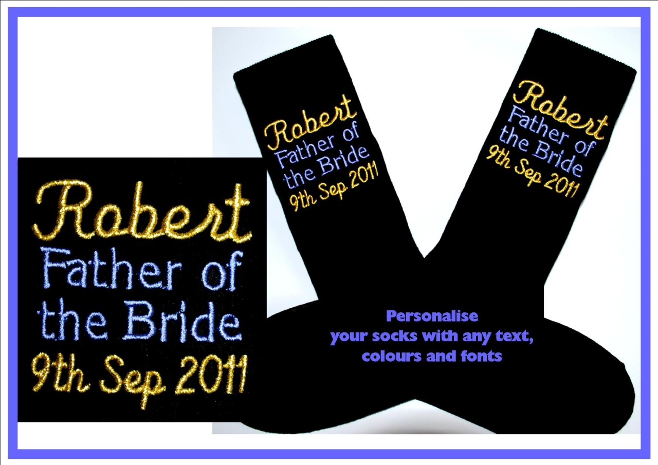 Personalised-Birthday-Wedding-Hen-Stag-Night-Gift-Present-Sock-ANY-TEXT-amp-COLOUR