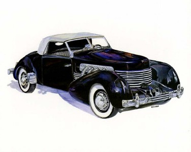 1937 Cord 812 Sportsman Supercharged 10x8 In Art Print