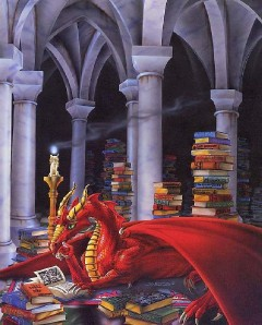 A Book Loving Dragon 8x10 In Fantasy Art Print