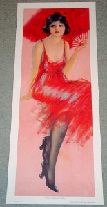 1920s Flapper RED FEATHERED FAN 12x30 In Art Print