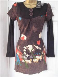 pepper tree   topshop 308 brown sheep dress top 6 8 10ebay