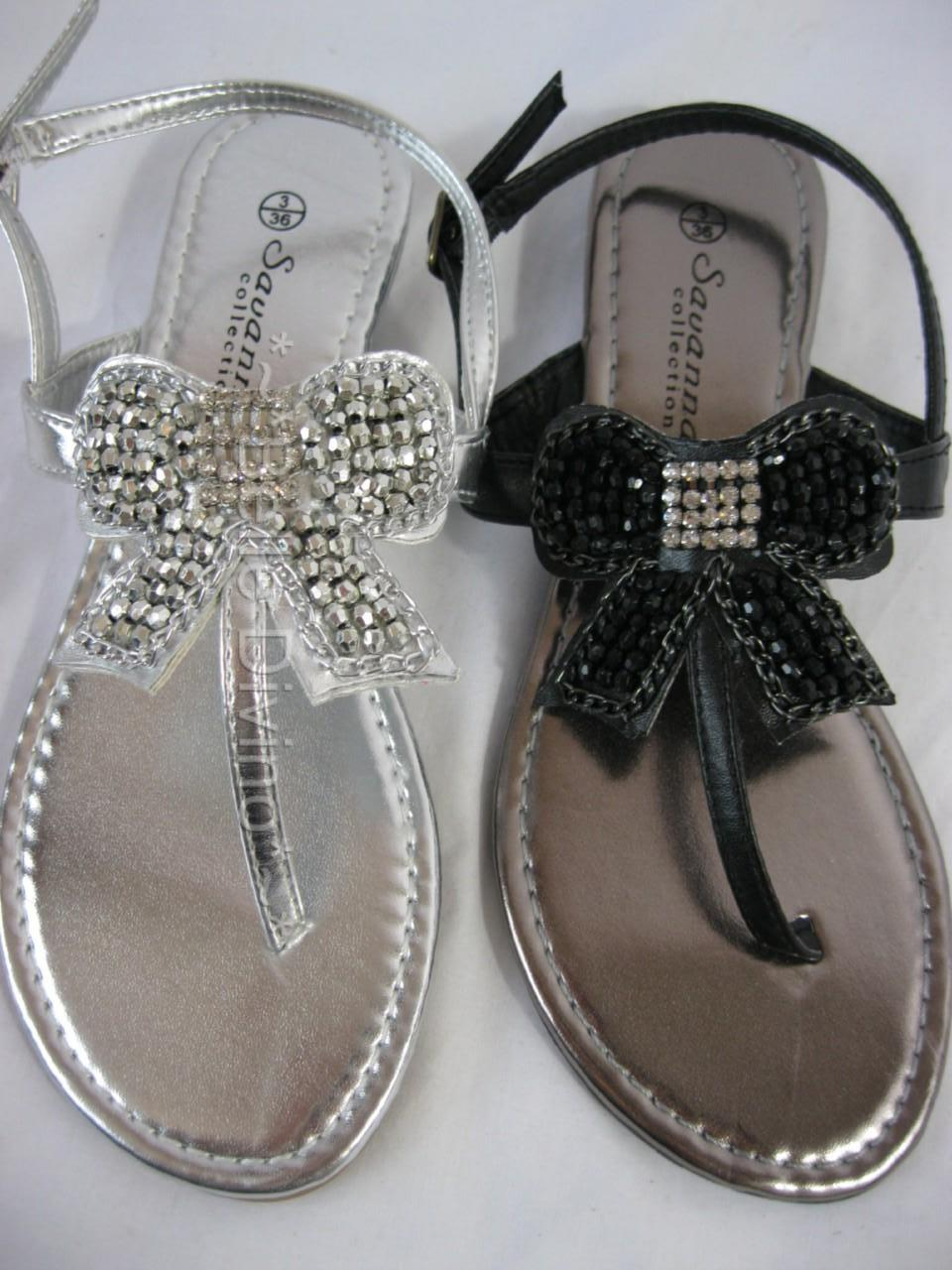 Savannah Diamante Jewel Bow Jewel Leather Flip flops 3 8 ...