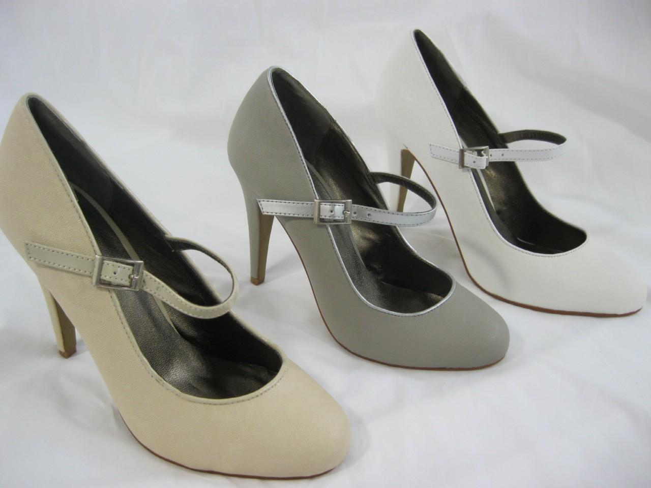 Rascal White / Cream / Grey Mary Jane Court Shoe 3 4 5 6 7 8 Cute