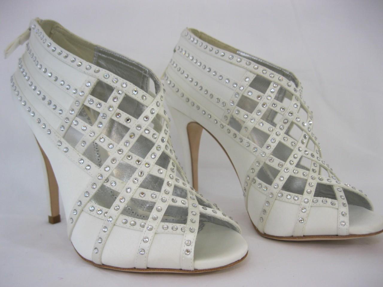 Bourne Tamsin Bridal Shoes 3 8 GBP151 Ivory Satin Diamante Crystal Lattice Wedding