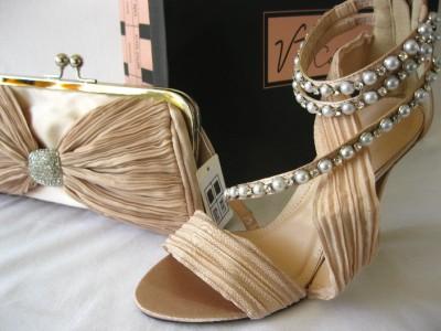 V T Collection 3 8 Pearl Diamante Nude Champagne Satin