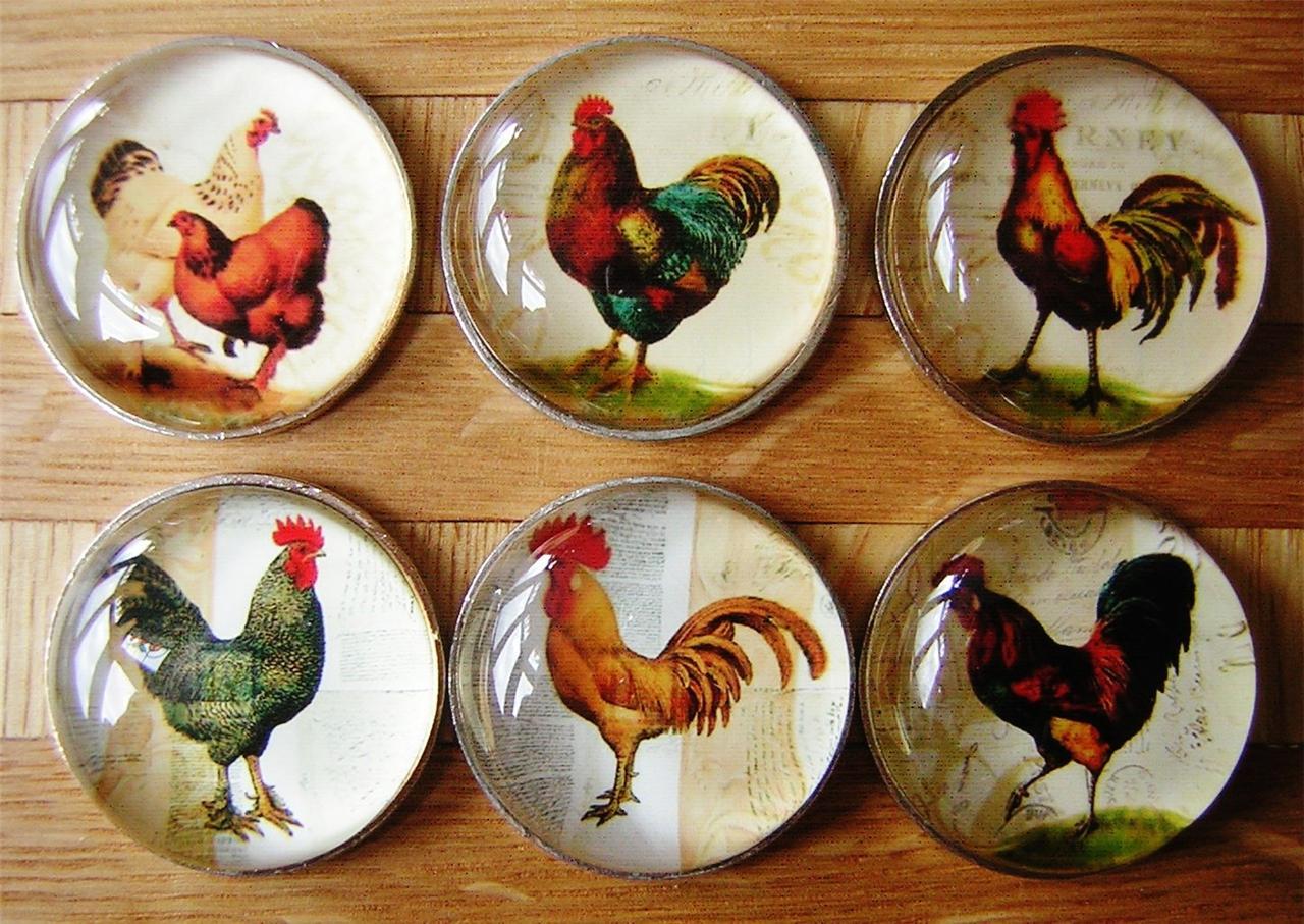 Chicken Cockerel Hen Bird Drawer Knobs Pulls Handles Cupboard Country Kitchen