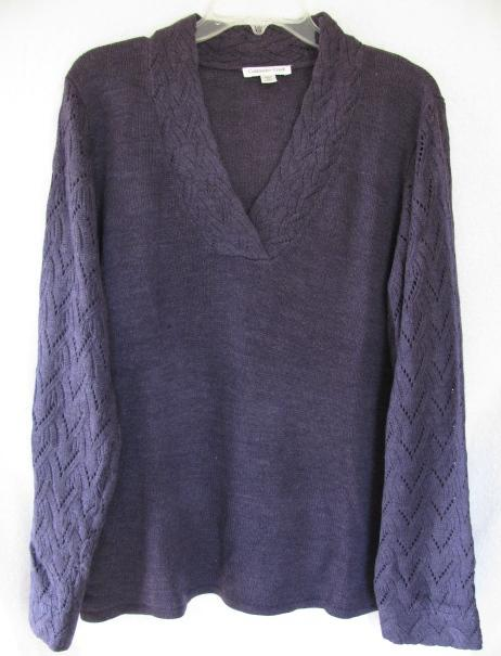 Coldwater-Creek-Pointelle-Stitch-Sleeve-Solid-Pullover