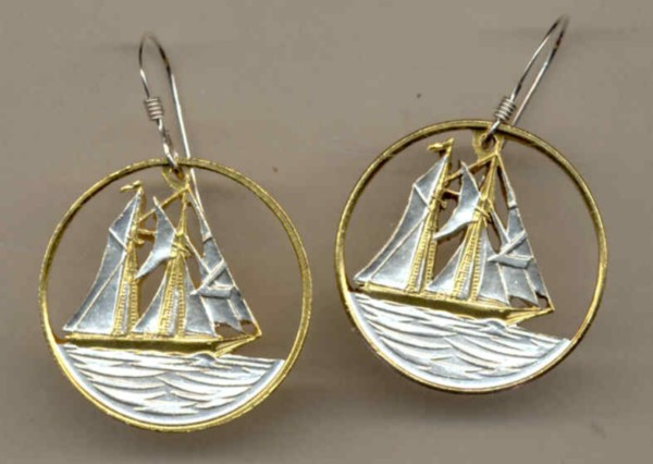 Cayman-Islands-25-Cent-Sailboat-Coin-Earrings-Gold-Silver