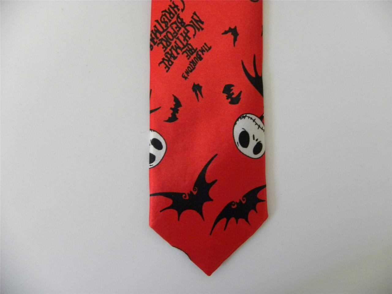 Details about nightmare before christmas skinny tie red necktie bats ...