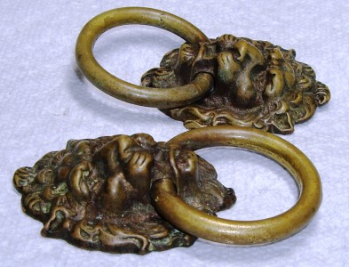 PR Numbered Bronze Brass Lion Head Ring Drawer Pulls