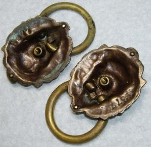 PR Numbered Bronze Brass Lion Head Ring Drawer Pulls