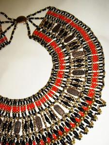 ART DECO EGYPTIAN REVIVAL Cartouche Beaded Collar BIB Necklace Poss