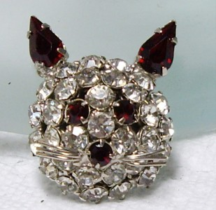 Vintage JOSEPH WARNER Prong Set Red Rhinestone KITTY CAT Pin Brooch